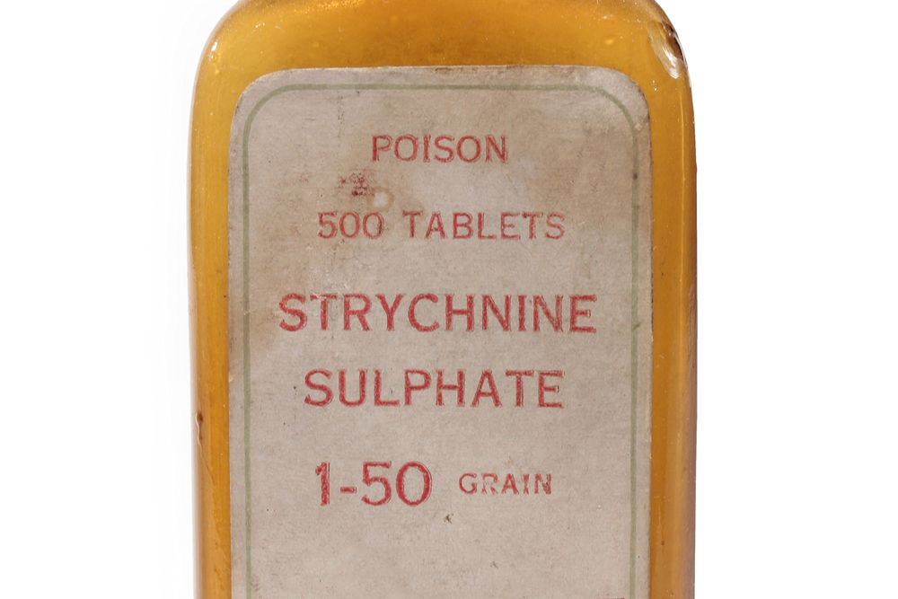 antique medicinal bottle with strychnine